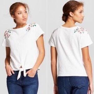 A New Day White Embroidered Tie Crop Top